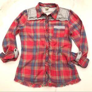 Daytrip Tops - Daytrip Flannel Fringe Button Down, Plaid, Size L